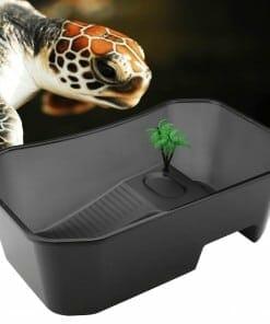 Bac a Tortue d Eau Transparent Avec Plateforme couleur noire et tortue aquatique qui regarde