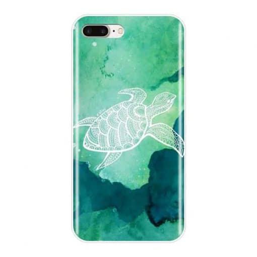 coque iphone tortue blanche sur fond vert