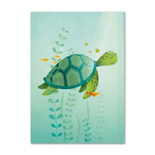 Dessin de tortue rêveuse pour chambre d'enfant