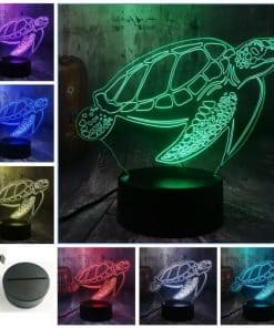 Lampe 3D Tortue de Mer Tactile et son Support