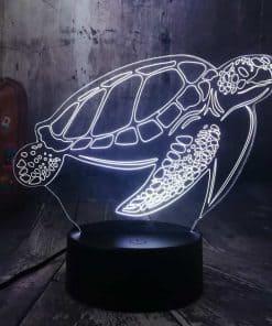 Lampe 3D Tortue de Mer Tactile Blanche