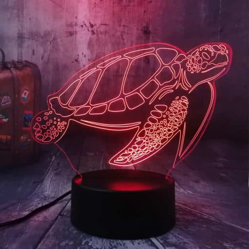 Lampe 3D Tortue de Mer Tactile Rouge