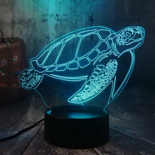 Lampe 3D Tortue de Mer Tactile Bleue