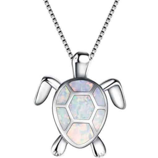 Pendentif tortue myriade de couleurs modèle blanc