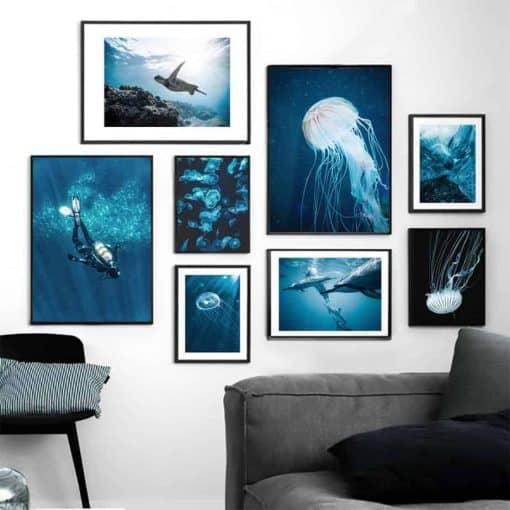 Affiches murales océan, tortue, plongeur, méduses, dauphin