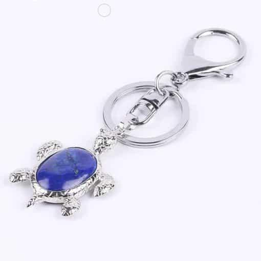 Porte Clé Tortue en Cristal Serti d une Pierre Translucide Lapis Lazuli