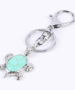 Porte Clé Tortue en Cristal Serti d une Pierre Translucide turquoise