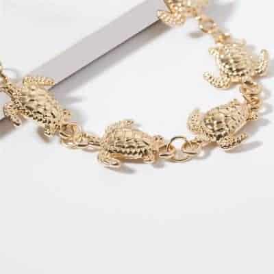 bracelet tortues pour cheville couleur or