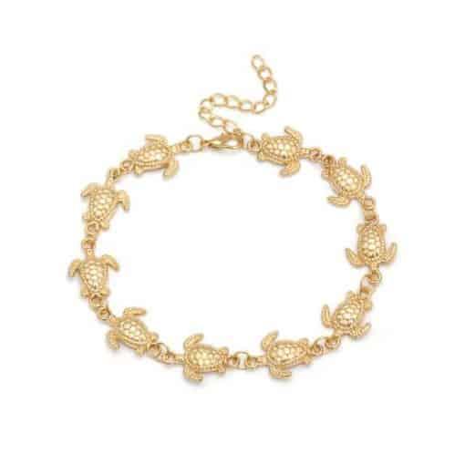 bracelet tortue cheville couleur or