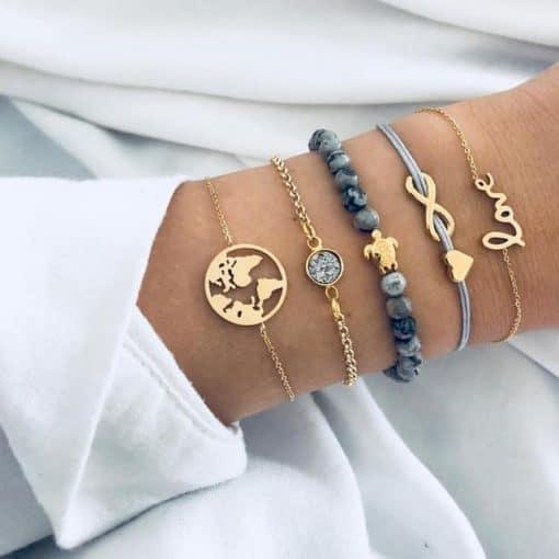 Bracelet superposé tortue, infini et amour, anthracite