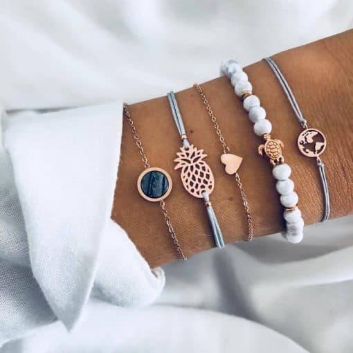 bracelet tortue marbre ananas terre amour