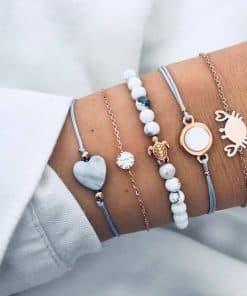 Bracelet tortue paix amour et sérénité marbre crabe et coeur