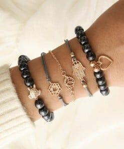 bracelet tortue paix amour protection et sérénité noir