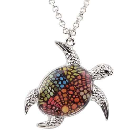 collier tortue à motif de point fleuri multicolore