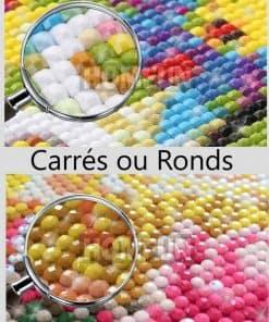 coloriage tortue reve multicolore en peinture diamants rond ou carres