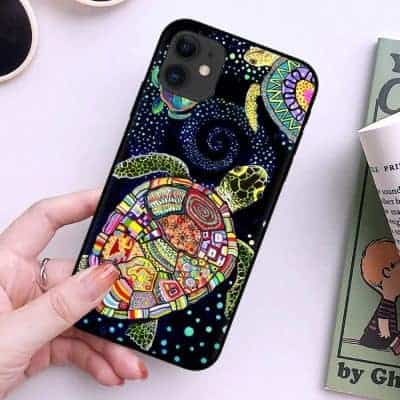 coque tortue pour iPhone récent féerique ou aquarelle