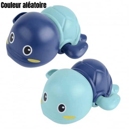 jouet tortue bleu en plastique pour le bain des petits