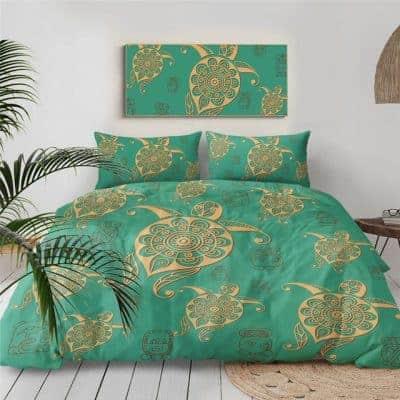 parure de lit aux multiples tortues vertes et jaunes