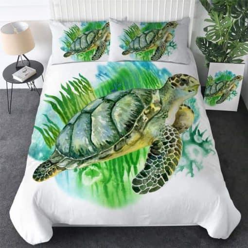 Parure de lit tortue et algues vertes