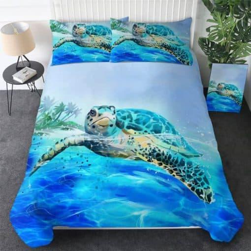 Parure de lit tortue, palmiers sur une île