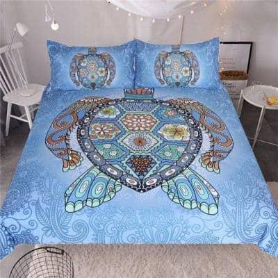 Parure de lit tortue Mandala bleu clair