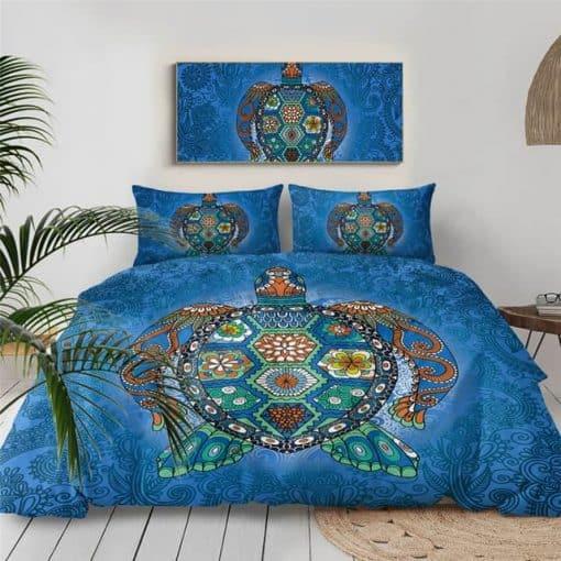 Parure de lit tortue mandala bleu foncé