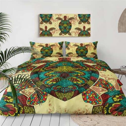 Parure de lit tortue mandala multicolore avec housse de couette et taies d'oreiller