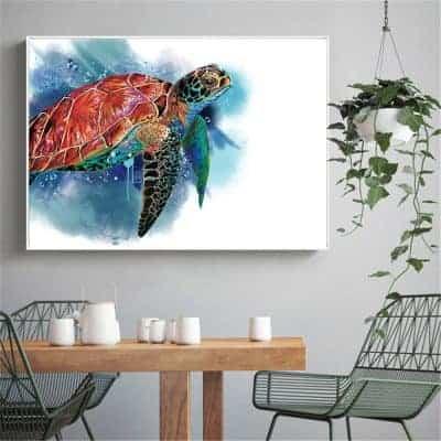 Photo de tortue de mer géante qui nage paisiblement effet dessin
