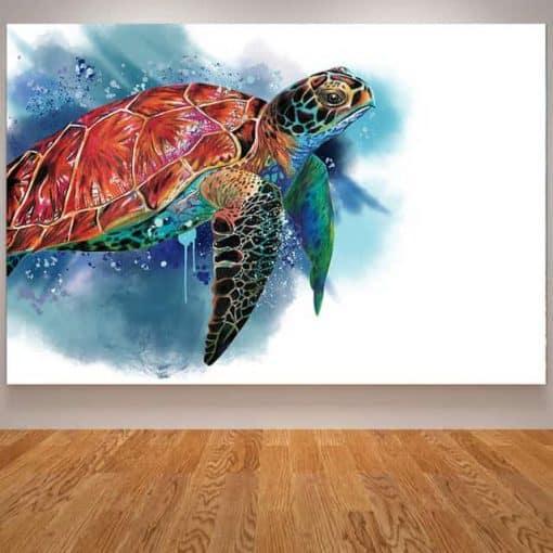 Photo de tortue de mer géante qui nage paisiblement en dessin