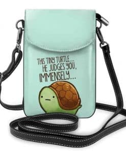 """sac en bandoulière tortue """"this tiny turtle, he judges you, immensely"""
