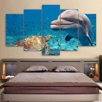 Tableau de tortue de mer pentatyptique avec tortue et dauphin
