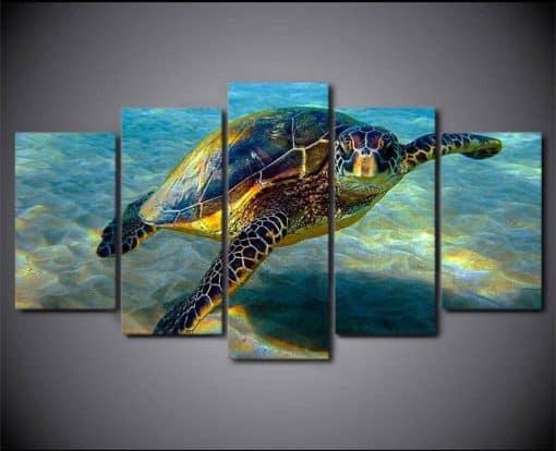 Tableau de tortue de mer pentatyptique en mode voyage solo