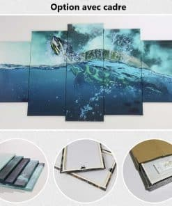 Tableau de tortue de mer pentatyptique option avec cadre