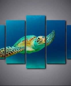 Tableau de tortue de mer pentatyptique zoom de face
