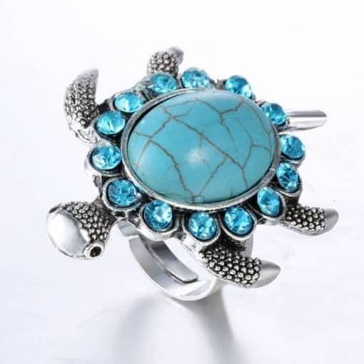 bague tortue avec 14 cristaux vue de trois quarts