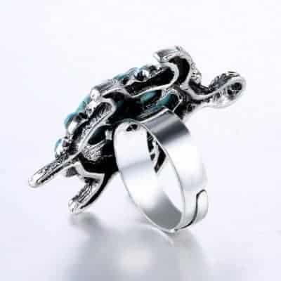 bague tortue avec 14 cristaux avec anneau ajustable