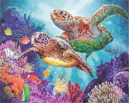 Peinture, câlins de deux tortues