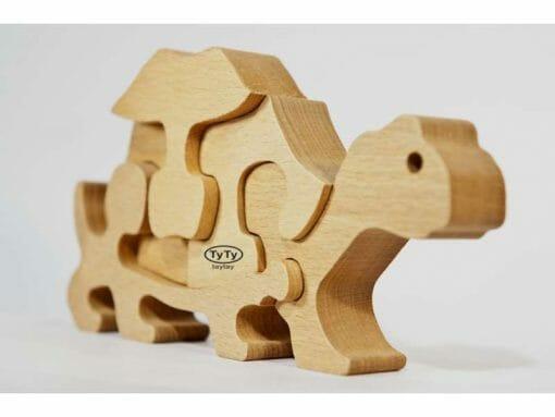 Puzzle Tortue en Bois Veritable vu de trois quarts