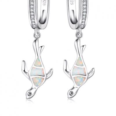 boucles d'oreille tortue opale de fiançailles en argent 925