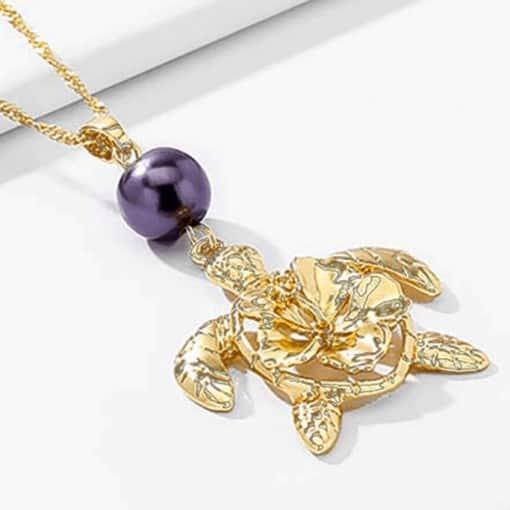 Collier tortue avec perle polynésienne