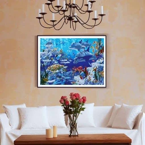 tableau des fonds marins dans le salon