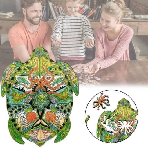 puzzle tortue en bois fait en famille