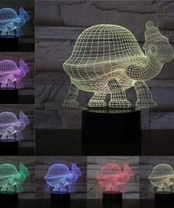 Lumière 3D tortue au bonnet amusant