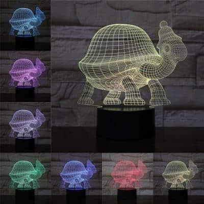 Lampe tortue 3D avec un bonnet amusant
