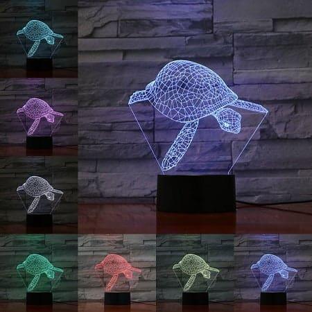 Lampe tortue qui plonge 3D aux 7 couleurs