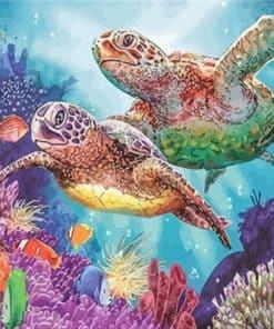 peinture de deux tortue de mer de mer qui nagent dans les coraux