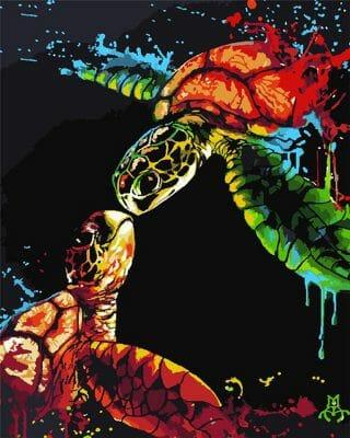 peinture tortue de mer finie peinture acrylique diy coloriage de tortue facile
