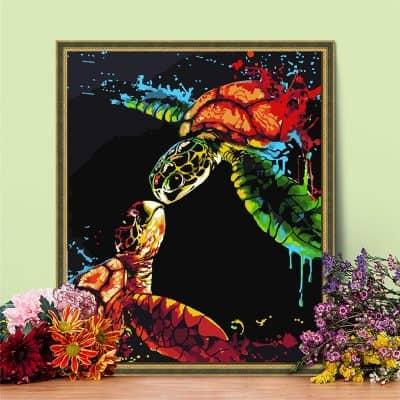 peinture tortue kit complet accroché au murde mer finie peinture acrylique diy coloriage de tortue facile