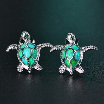 deux tortues boucle d 'oreille de mer en argent 925 cristal vert