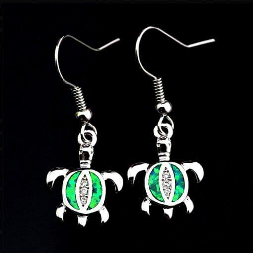 boucle d oreille tortue argent 925 vert